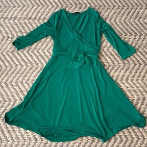 Green faux wrap dress